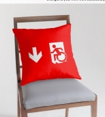 Accessible Exit Sign Project Wheelchair Wheelie Running Man Symbol Means of Egress Icon Disability Emergency Evacuation Fire Safety Throw Pillow Cushion 28