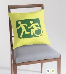 Accessible Exit Sign Project Wheelchair Wheelie Running Man Symbol Means of Egress Icon Disability Emergency Evacuation Fire Safety Throw Pillow Cushion 29