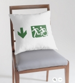 Accessible Exit Sign Project Wheelchair Wheelie Running Man Symbol Means of Egress Icon Disability Emergency Evacuation Fire Safety Throw Pillow Cushion 31