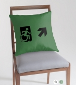 Accessible Exit Sign Project Wheelchair Wheelie Running Man Symbol Means of Egress Icon Disability Emergency Evacuation Fire Safety Throw Pillow Cushion 3