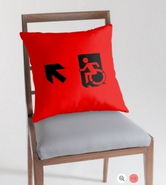 Accessible Exit Sign Project Wheelchair Wheelie Running Man Symbol Means of Egress Icon Disability Emergency Evacuation Fire Safety Throw Pillow Cushion 32