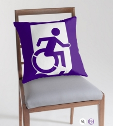 Accessible Exit Sign Project Wheelchair Wheelie Running Man Symbol Means of Egress Icon Disability Emergency Evacuation Fire Safety Throw Pillow Cushion 36