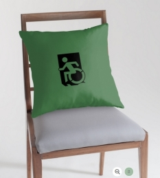 Accessible Exit Sign Project Wheelchair Wheelie Running Man Symbol Means of Egress Icon Disability Emergency Evacuation Fire Safety Throw Pillow Cushion 37