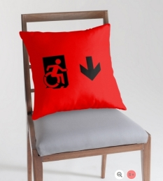 Accessible Exit Sign Project Wheelchair Wheelie Running Man Symbol Means of Egress Icon Disability Emergency Evacuation Fire Safety Throw Pillow Cushion 39