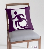 Accessible Exit Sign Project Wheelchair Wheelie Running Man Symbol Means of Egress Icon Disability Emergency Evacuation Fire Safety Throw Pillow Cushion 40