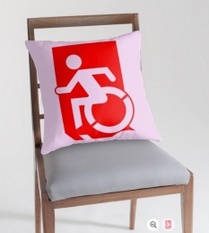 Accessible Exit Sign Project Wheelchair Wheelie Running Man Symbol Means of Egress Icon Disability Emergency Evacuation Fire Safety Throw Pillow Cushion 42