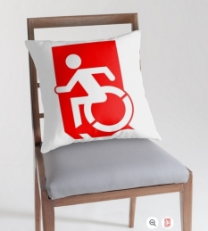 Accessible Exit Sign Project Wheelchair Wheelie Running Man Symbol Means of Egress Icon Disability Emergency Evacuation Fire Safety Throw Pillow Cushion 44