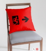 Accessible Exit Sign Project Wheelchair Wheelie Running Man Symbol Means of Egress Icon Disability Emergency Evacuation Fire Safety Throw Pillow Cushion 45