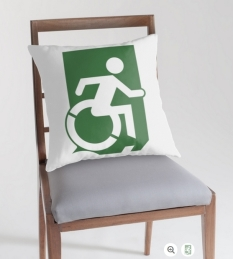 Accessible Exit Sign Project Wheelchair Wheelie Running Man Symbol Means of Egress Icon Disability Emergency Evacuation Fire Safety Throw Pillow Cushion 46