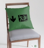 Accessible Exit Sign Project Wheelchair Wheelie Running Man Symbol Means of Egress Icon Disability Emergency Evacuation Fire Safety Throw Pillow Cushion 47