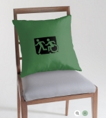 Accessible Exit Sign Project Wheelchair Wheelie Running Man Symbol Means of Egress Icon Disability Emergency Evacuation Fire Safety Throw Pillow Cushion 48