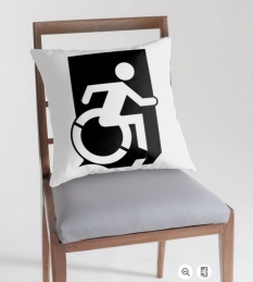 Accessible Exit Sign Project Wheelchair Wheelie Running Man Symbol Means of Egress Icon Disability Emergency Evacuation Fire Safety Throw Pillow Cushion 49