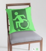 Accessible Exit Sign Project Wheelchair Wheelie Running Man Symbol Means of Egress Icon Disability Emergency Evacuation Fire Safety Throw Pillow Cushion 51