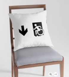Accessible Exit Sign Project Wheelchair Wheelie Running Man Symbol Means of Egress Icon Disability Emergency Evacuation Fire Safety Throw Pillow Cushion 53