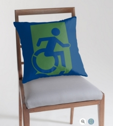 Accessible Exit Sign Project Wheelchair Wheelie Running Man Symbol Means of Egress Icon Disability Emergency Evacuation Fire Safety Throw Pillow Cushion 54