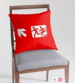 Accessible Exit Sign Project Wheelchair Wheelie Running Man Symbol Means of Egress Icon Disability Emergency Evacuation Fire Safety Throw Pillow Cushion 55