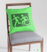 Accessible Exit Sign Project Wheelchair Wheelie Running Man Symbol Means of Egress Icon Disability Emergency Evacuation Fire Safety Throw Pillow Cushion 56