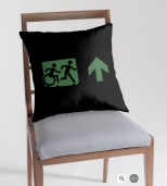 Accessible Exit Sign Project Wheelchair Wheelie Running Man Symbol Means of Egress Icon Disability Emergency Evacuation Fire Safety Throw Pillow Cushion 57