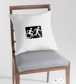 Accessible Exit Sign Project Wheelchair Wheelie Running Man Symbol Means of Egress Icon Disability Emergency Evacuation Fire Safety Throw Pillow Cushion 58