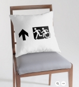 Accessible Exit Sign Project Wheelchair Wheelie Running Man Symbol Means of Egress Icon Disability Emergency Evacuation Fire Safety Throw Pillow Cushion 59