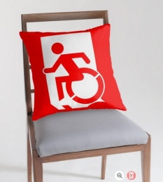 Accessible Exit Sign Project Wheelchair Wheelie Running Man Symbol Means of Egress Icon Disability Emergency Evacuation Fire Safety Throw Pillow Cushion 60