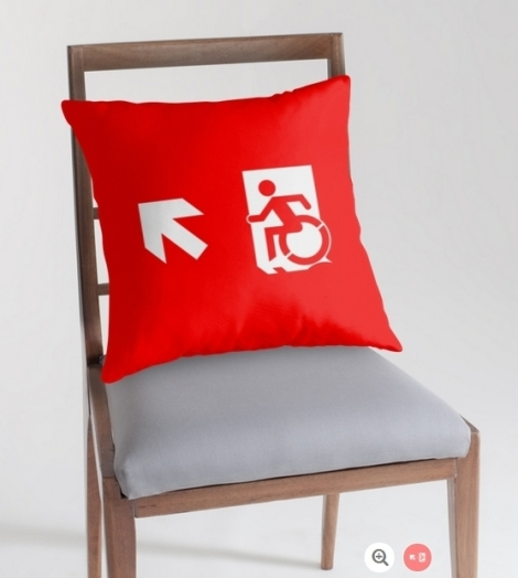 Accessible Exit Sign Project Wheelchair Wheelie Running Man Symbol Means of Egress Icon Disability Emergency Evacuation Fire Safety Throw Pillow Cushion 6