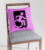 Accessible Exit Sign Project Wheelchair Wheelie Running Man Symbol Means of Egress Icon Disability Emergency Evacuation Fire Safety Throw Pillow Cushion 62