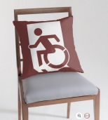 Accessible Exit Sign Project Wheelchair Wheelie Running Man Symbol Means of Egress Icon Disability Emergency Evacuation Fire Safety Throw Pillow Cushion 64