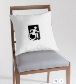 Accessible Exit Sign Project Wheelchair Wheelie Running Man Symbol Means of Egress Icon Disability Emergency Evacuation Fire Safety Throw Pillow Cushion 65