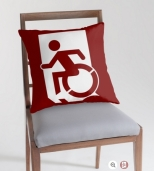 Accessible Exit Sign Project Wheelchair Wheelie Running Man Symbol Means of Egress Icon Disability Emergency Evacuation Fire Safety Throw Pillow Cushion 66