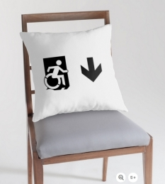 Accessible Exit Sign Project Wheelchair Wheelie Running Man Symbol Means of Egress Icon Disability Emergency Evacuation Fire Safety Throw Pillow Cushion 67