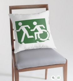 Accessible Exit Sign Project Wheelchair Wheelie Running Man Symbol Means of Egress Icon Disability Emergency Evacuation Fire Safety Throw Pillow Cushion 68