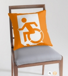 Accessible Exit Sign Project Wheelchair Wheelie Running Man Symbol Means of Egress Icon Disability Emergency Evacuation Fire Safety Throw Pillow Cushion 70