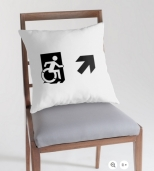 Accessible Exit Sign Project Wheelchair Wheelie Running Man Symbol Means of Egress Icon Disability Emergency Evacuation Fire Safety Throw Pillow Cushion 71