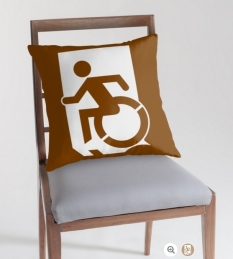 Accessible Exit Sign Project Wheelchair Wheelie Running Man Symbol Means of Egress Icon Disability Emergency Evacuation Fire Safety Throw Pillow Cushion 72