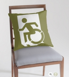 Accessible Exit Sign Project Wheelchair Wheelie Running Man Symbol Means of Egress Icon Disability Emergency Evacuation Fire Safety Throw Pillow Cushion 74