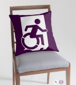 Accessible Exit Sign Project Wheelchair Wheelie Running Man Symbol Means of Egress Icon Disability Emergency Evacuation Fire Safety Throw Pillow Cushion 76