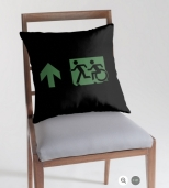 Accessible Exit Sign Project Wheelchair Wheelie Running Man Symbol Means of Egress Icon Disability Emergency Evacuation Fire Safety Throw Pillow Cushion 77