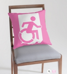 Accessible Exit Sign Project Wheelchair Wheelie Running Man Symbol Means of Egress Icon Disability Emergency Evacuation Fire Safety Throw Pillow Cushion 78