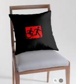 Accessible Exit Sign Project Wheelchair Wheelie Running Man Symbol Means of Egress Icon Disability Emergency Evacuation Fire Safety Throw Pillow Cushion 8