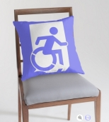 Accessible Exit Sign Project Wheelchair Wheelie Running Man Symbol Means of Egress Icon Disability Emergency Evacuation Fire Safety Throw Pillow Cushion 80