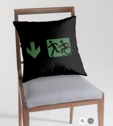 Accessible Exit Sign Project Wheelchair Wheelie Running Man Symbol Means of Egress Icon Disability Emergency Evacuation Fire Safety Throw Pillow Cushion 81
