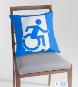 Accessible Exit Sign Project Wheelchair Wheelie Running Man Symbol Means of Egress Icon Disability Emergency Evacuation Fire Safety Throw Pillow Cushion 82