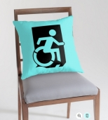 Accessible Exit Sign Project Wheelchair Wheelie Running Man Symbol Means of Egress Icon Disability Emergency Evacuation Fire Safety Throw Pillow Cushion 83