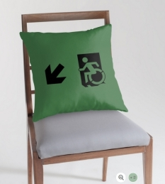Accessible Exit Sign Project Wheelchair Wheelie Running Man Symbol Means of Egress Icon Disability Emergency Evacuation Fire Safety Throw Pillow Cushion 84