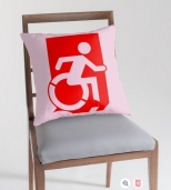 Accessible Exit Sign Project Wheelchair Wheelie Running Man Symbol Means of Egress Icon Disability Emergency Evacuation Fire Safety Throw Pillow Cushion 85