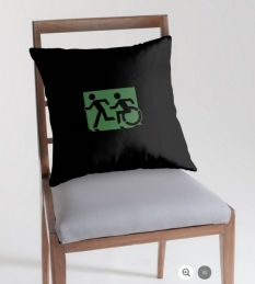 Accessible Exit Sign Project Wheelchair Wheelie Running Man Symbol Means of Egress Icon Disability Emergency Evacuation Fire Safety Throw Pillow Cushion 86