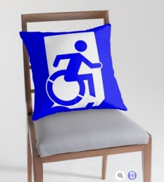 Accessible Exit Sign Project Wheelchair Wheelie Running Man Symbol Means of Egress Icon Disability Emergency Evacuation Fire Safety Throw Pillow Cushion 87