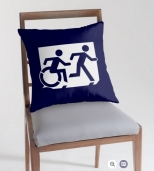 Accessible Exit Sign Project Wheelchair Wheelie Running Man Symbol Means of Egress Icon Disability Emergency Evacuation Fire Safety Throw Pillow Cushion 89