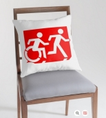 Accessible Exit Sign Project Wheelchair Wheelie Running Man Symbol Means of Egress Icon Disability Emergency Evacuation Fire Safety Throw Pillow Cushion 90